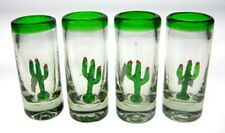 Mexican tequila SHOT Glasses, Hand blown Saguaro cactus (4)
