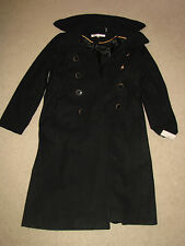 """NEW NWT *KENNETH COLE"""" Size 12 """"Melton"""" Black Wool Blend Trench Coat"""