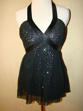 EXPRESS BLACK RHINESTONE DIAMOND ACCENT LOW CUT 100% SILK BLOUSE SIZE 2