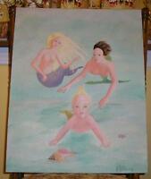 MERMAID MERMAN OCEAN NAUTICAL BABY CHILD BLONDE HAIR CONCH SHELL OIL PAINTING