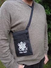 FREE TIBET Nero Passaporto Borsetta Marsupio 3 tasche con zip Nodo Design Borsa da uomo intelligente