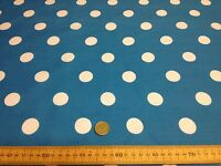 Poly Cotton fabric * SPOTTED POLKA DOT * PEACOCK with WHITE SPOTS * 25 MM SPOTS
