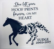 Personalise Horse Hoof Print On My Heart Symp Vinyl Decal Sticker Box Frame