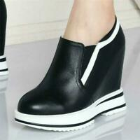 Womens Super High Wedge Heel Trainers Slip on Leather Sneakers Ankle Boots Shoes