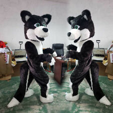 2019 Black Husky Dog Mascot Costume Cosplay Adult Unisex Suit Parade Fancy Dress
