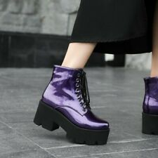 Womens High Block Heels Punk Round Toe Platform Ankle Motorcycle Boots Shoes HOT