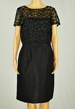 Tahary By ASL Womens Black Short Sleeve Sequin Floral Lace Sheath Dress 14