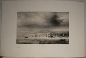 VALPARAISO CHILE 1840 LAUVERGNE UNUSUAL ANTIQUE ORIGINAL LITHOGRAPHIC CITY VIEW