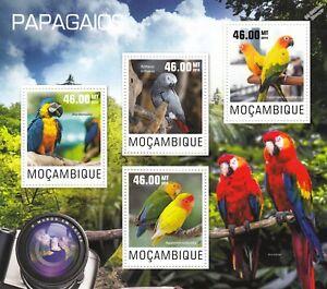 PARROTS (Papagaios) BIRDS Mint MNH Stamp Sheet M/S (2014 Mozambique)