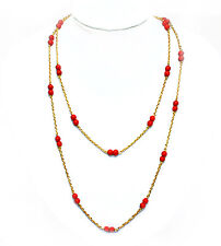 Long red coral bead gold plated chain necklace - 52in