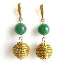 CAPIM VEGETABLE GOLD EARRINGS NATURAL GOLDEN SPHERE GLOBE BALL GREEN ROUND AGATE