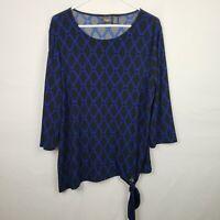 Chicos Travelers Womens Top Size 2 L Blue Black 3/4 Sleeve Scoop Neck Tie Waist