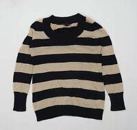 H&M Womens Size M Striped Black Sparkly Jumper (Regular)