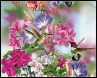 Spring Flowers Attract Hummingbirds - Chart Counted Cross Stitch Patterns