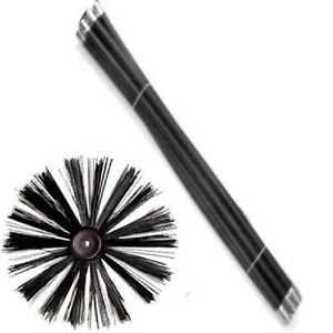 NEW CHIMNEY FLUE CLEANING RODS x 8 & BRUSH SWEEP SWEEPING SET KIT