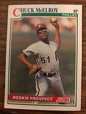 1991 Score Rookie Prospect Chuck Mcelroy Philadelphia Phillies 374