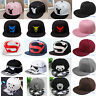 Womens Men Snapback Baseball Cap Flat Bill Visor Hip Hop Trucker Peak Hat BBoy A