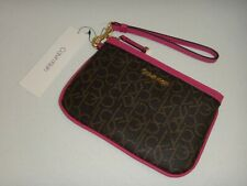 CALVIN KLEIN Women's CK Signature Wristlet Clutch Wallet Brown Hot Pink H8GLIKX1
