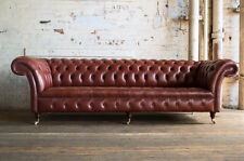 TRADITIONAL HANDMADE 4 SEATER CHESTERFIELD SOFA CHAIR RED CHESTNUT LEATHER