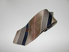 Via Re Brown / Navy  / Striped Necktie Men's Tie All Silk
