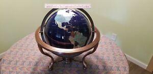 "Extra Large (12"" Diameter) Semi Precious Stone Globe Bronze Stand with Compass"