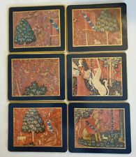 Mid Century Lady Clare Coasters Medieval Lady Unicorn Lion (lot of 6)