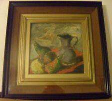 """Rocco Carvelli-""""Natura morta"""" dipinto a olio su masonite c/pass-partout  30,8x31"""