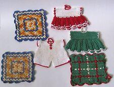 Vintage LOT 6 Hand Crocheted Pot Holders Figureals ALL