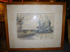 Original AT THE DOCKS by Winifred Pickford ART Pen & wash picture of a Dockyard
