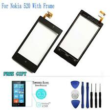 Front Outer Touch Screen Glass Lens Digitizer Panel+Frame For Nokia Lumia N520