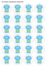 24X PRECUT MAN CITY BIRTHDAY FOOTBALL EDIBLE WAFER CUPCAKE CAKE TOPPERS 1338