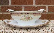 Noritake Gravy Boat with Underplate Unk Pattern Gold Trim Estate Find Beautiful