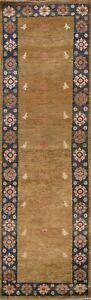 Tribal Geometric Gabbeh Kashkoli Oriental Runner Rug Hand-knotted Hallway 3'x10'