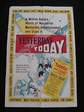 YESTERDAY AND TODAY movie poster GEORGE JESSEL Original 1953 One sheet
