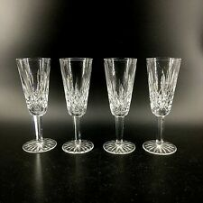 Vintage Waterford Cut Crystal Ireland Lismore Set of 4 Champagne Flutes Glasses