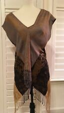 FIRMIANA  Sleeveless Pullover Asymmetrical Top With Fringe,2, Cotton/Acrylic,EUC
