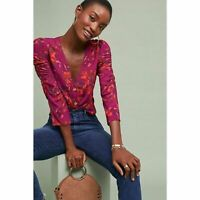 Anthropologie Maeve Jourdain Floral Blouse Women's Size Medium Button Front