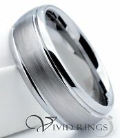 Mens Tungsten Carbide Wedding Band Domed Brushed Ring 8MM  -  Size 7.5 to 14.5