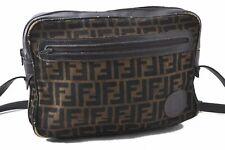 Authentic FENDI Zucca Shoulder Bag Canvas Leather Brown A5216