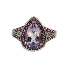 14K White Gold Amethyst and Pink Tourmaline Ring with Diamonds
