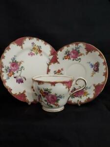 Vintage Aynsley Wilton Pink Bone China Tea Trio