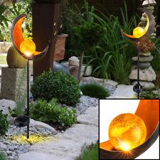 2x LED Außen Steck Leuchten SOLAR Lampen Mond Design Garten Weg Dekorationen
