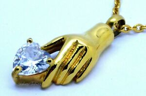CREMATION URN KEEPSAKE NECKLACE 24k GOLD PLATED HEART IN HAND PENDANT CHARM CZ
