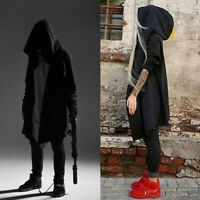 ❤️Mens Hooded Jacket Long Cardigan Punk Black Goth Gothic Hoodie Black Cape Tops