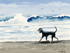 """Black and Tan Coonhound at the Beach"" Watercolor Art Print by Artist Djr"