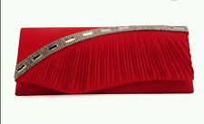 New Sparkling Rhinestone Party Bridal Evening Clutch Bag red