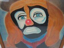 1981 Signed Vtg Framed Art 21x16 Water Color Painting Scary Sad Clown Dale Urias