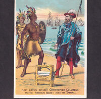 Indian v Christopher Columbus 1800's Empire Wringer Cherry Valley NY Trade Card