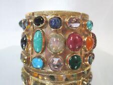 bracelet, variety of stones X- Large 90g Unique Rose gold 9-12k hinged cuff Huge