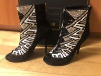BALMAIN H&M black Suede EMBELLISHED Open Toe Boots- eu 40 / us 10 / uk 8
